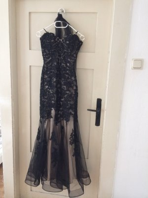 Abendkleid/ Ballkleid von Luxuar in schwarz mit Spitze