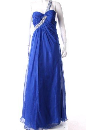 Abendkleid blau Glitzersteinverzierung
