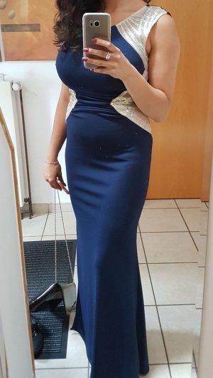 Abendkleid blau mit goldenen verzierungen
