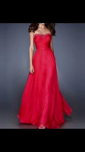 Abendkleid/ Brautjungfernkleid in Rot aus Chiffon, Satin und Spitze