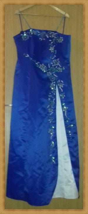 Robe de mariée bleu-blanc polyester
