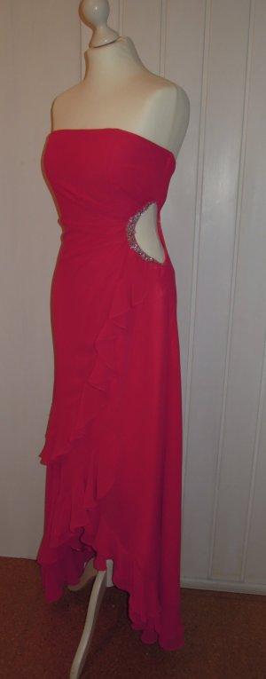 Abendkleid Chiffonkleid Volants asymmetrisch VoKuHiLa Magic Nights pink silber Strass Gr. 36