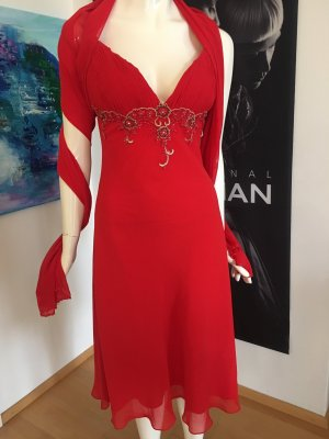 Abendkleid Cocktail Kleid Ballkleid rot mit Stola Stickerei Elemente Franz boutique