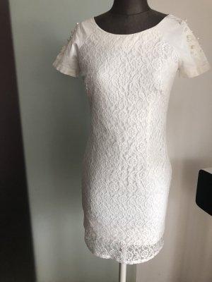 Abendkleid Cocktail Kleid Spitze Perlen Gr 36 38 S weiß
