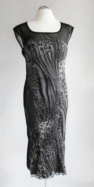 Abendkleid Cocktail Vera Mont Größe M 38 40 Schwarz Grau Dunkelgrau elegant Leo Muster Leopard Chiffon Stretch