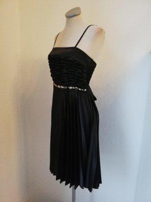 Abendkleid Cocktailkleid Minikleid Abiball Kleid plissiert Gr. 36 S schwarz Schleife neu!