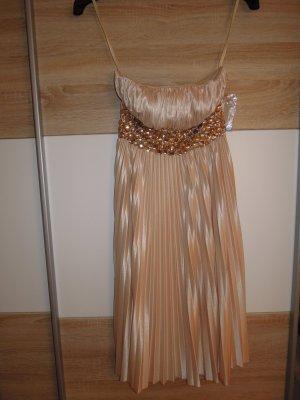 Abendkleid Cocktailkleid Plissee gold Gr. 32 trägerlos Korsagenkleid Apart