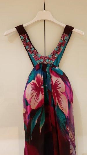 Vestido de baile violeta amarronado-turquesa
