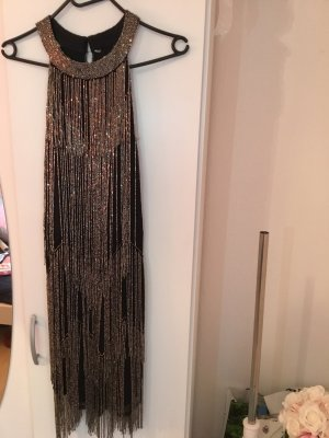 Robe à franges argenté-noir