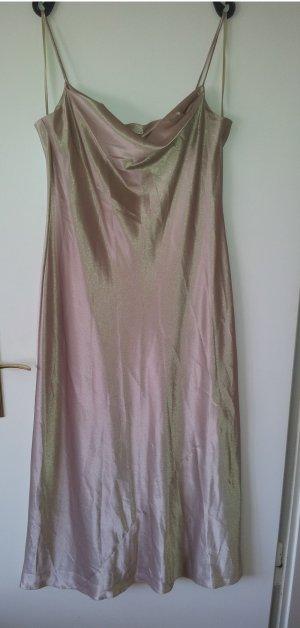 Abendkleid gold Wasserfall Dekoltee Spaghettiträger NEU