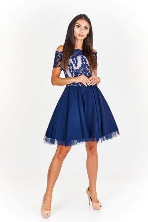 0039 Italy Robe de soirée bleu foncé-blanc cassé lycra