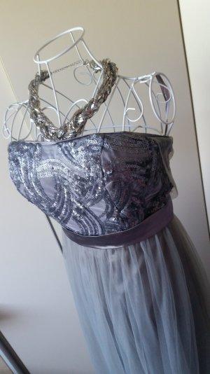 Abendkleid grau Tüll 42