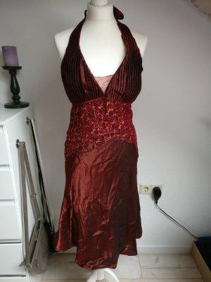 Abendkleid Größe 36 dunkelrot mit Pailletten neckholder Heine