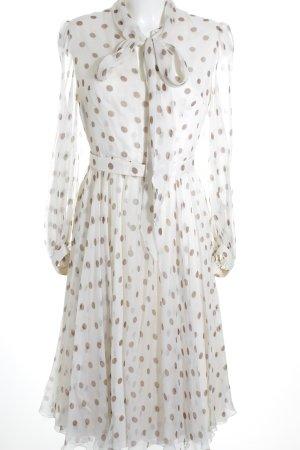 Abendkleid hellbeige-graubraun Punktemuster Elegant