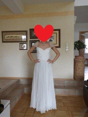 Abendkleid/Hochzeitskleid mit Perlenstickereien Gr.36/38
