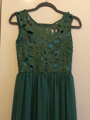 Abendkleid in grün/türkis lang mit goldenen Blumen