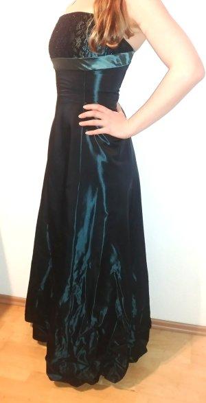Abendkleid Kleid bodenlang Abiball petrol 38 schwarz Spitze changierend Smaragd