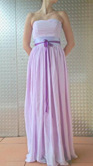 Abendkleid Kleid Chiffon Flieder Lila Schleife S 36