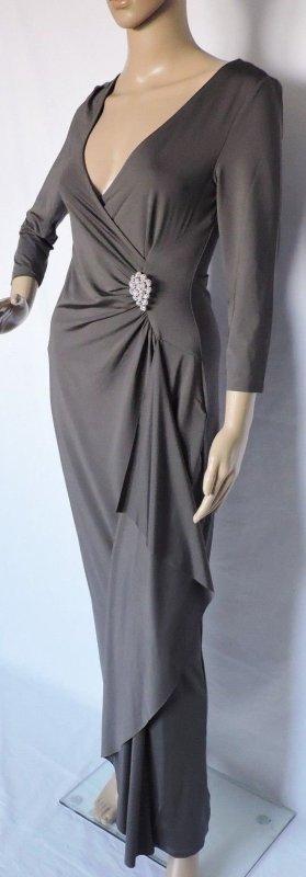 Abendkleid Kleid Jerseykleid grau 3/4 Arm 34/36 XS Strass-Brosche