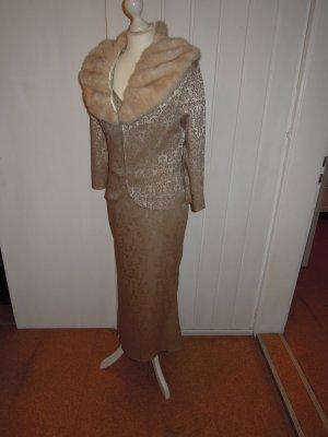 Abendkleid Kleid Rock Top Blazer Webpelz 4-Teiler Fake Fur Hochzeit Gr. 36