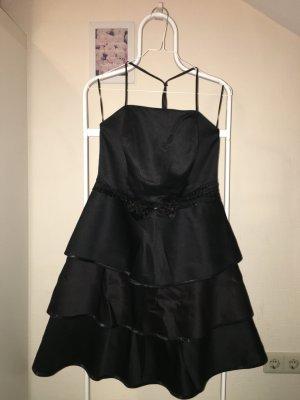 Abendkleid knielang schwarz Pailletten Schleife