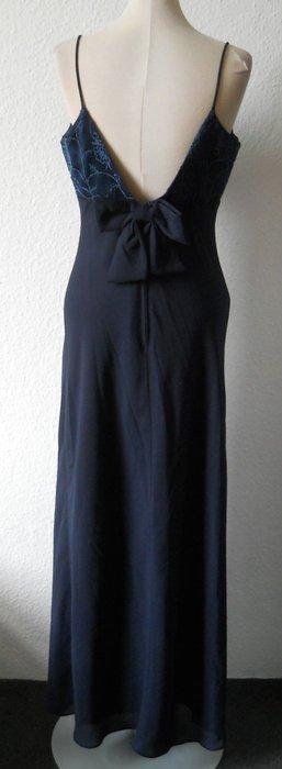 Abendkleid lang blau Perlen Schleife rückenfrei Gr. 36 S Chiffon Satin Ballkleid
