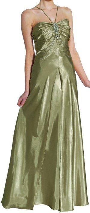 Abendkleid lang Brautjungfernkleid oliv-grün kaschierend Satin Gr.44