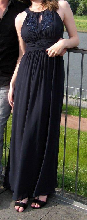 Abendkleid lang, fließend fallend, dunkelblau, Collierkragen