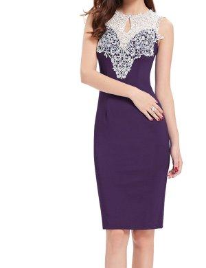 Abendkleid lila weiß 38