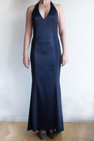 Abendkleid maßgeschneidert Neckholder Satin lang tiefer Rücken blau Gr. 36 S