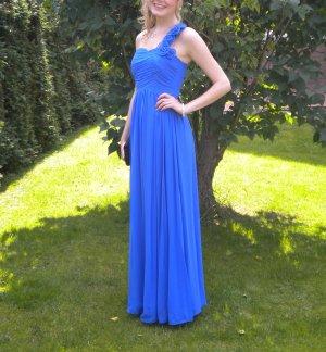 Abendkleid Maxikleid Ballkleid lang One Shoulder asymmetrisch blau