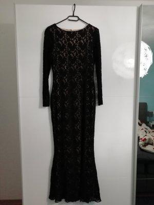 Abendkleid Meerjungfrau schwarz beige aus Spitze Meerjungfrauenkleid Abiball