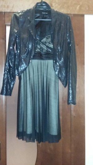 0039 Italy Evening Dress black-nude spandex