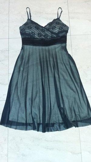 0039 Italy Robe de soirée noir-rose chair lycra