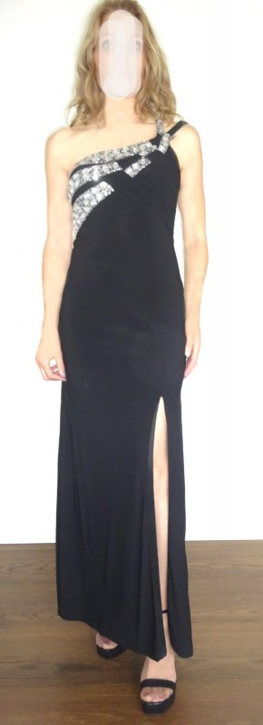 Apart  glamour Evening Dress black-silver-colored synthetic fibre
