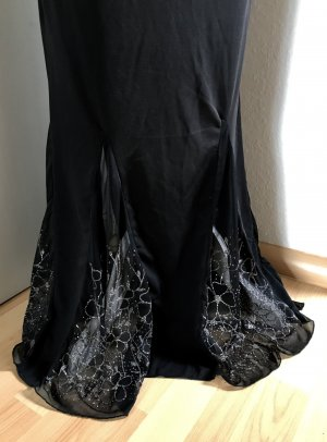 Vestido de noche negro-color plata