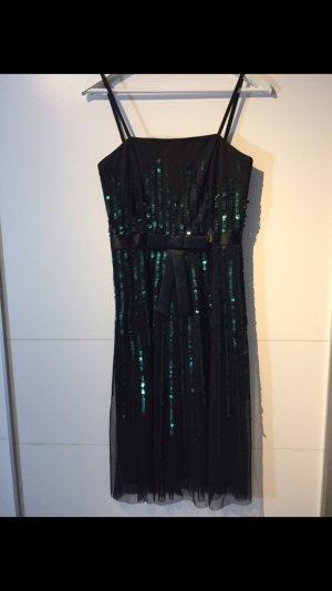 Abendkleid Pailletten schwarz grün XS