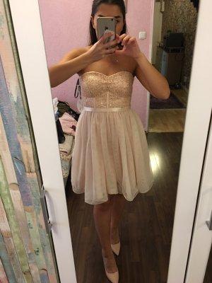 Abendkleid/ Partykleid Beige-Rose