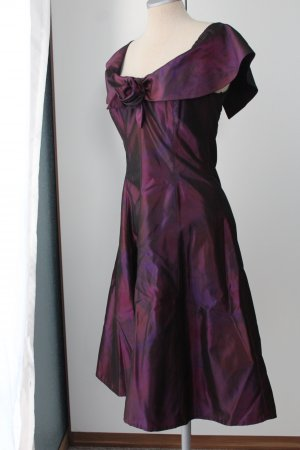 Abendkleid retro 50'er Rockabilly Kleid Midikleid von Radar Gr. 36 S bordeaux Taft Satin