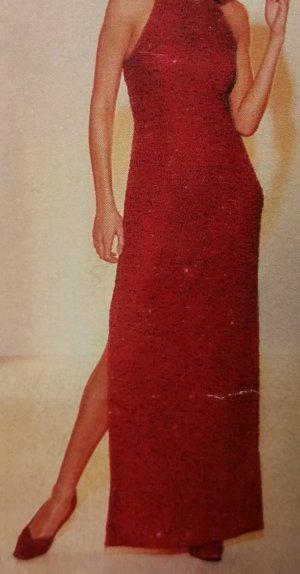 Abendkleid rot mit Zierperlen und Pailletten - NEUWERTIG - nur einmal getragen!