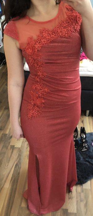 Abendkleid rot schimmernd