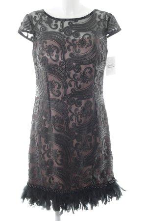 Abendkleid schwarz-graulila Blumenmuster Elegant