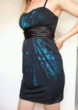 Abendkleid schwarz türkis/petrol