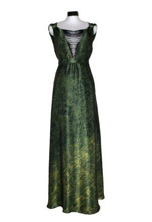 Abendkleid, Seide, Maxikleid, grün, tiefer Ausschnitt