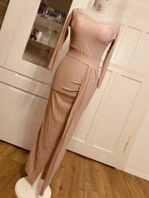 Stretch jurk stoffig roze-rosé