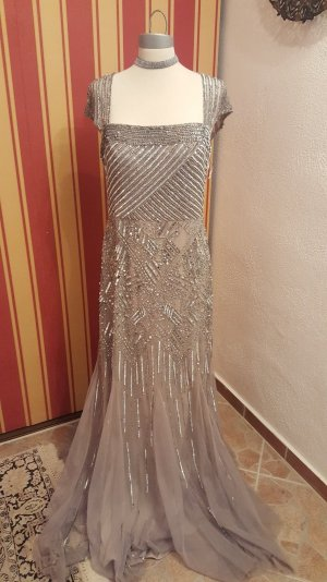 Adrianna Papell Evening Dress silver-colored polyester