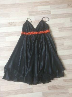 Abendkleid, Sommer gr.38 schwarz mit orangenen Streifen