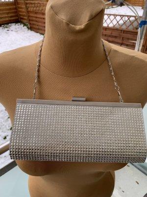 Abendkleid Tasche Clutch in Silber mit Steinen