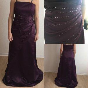 Abendkleid violett mit Silber Perlen
