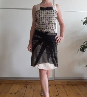 Abendkleid von Bottega Veneta, schwarz, creme, bestickt, Seide, Gr. 38 + Originalrechnung